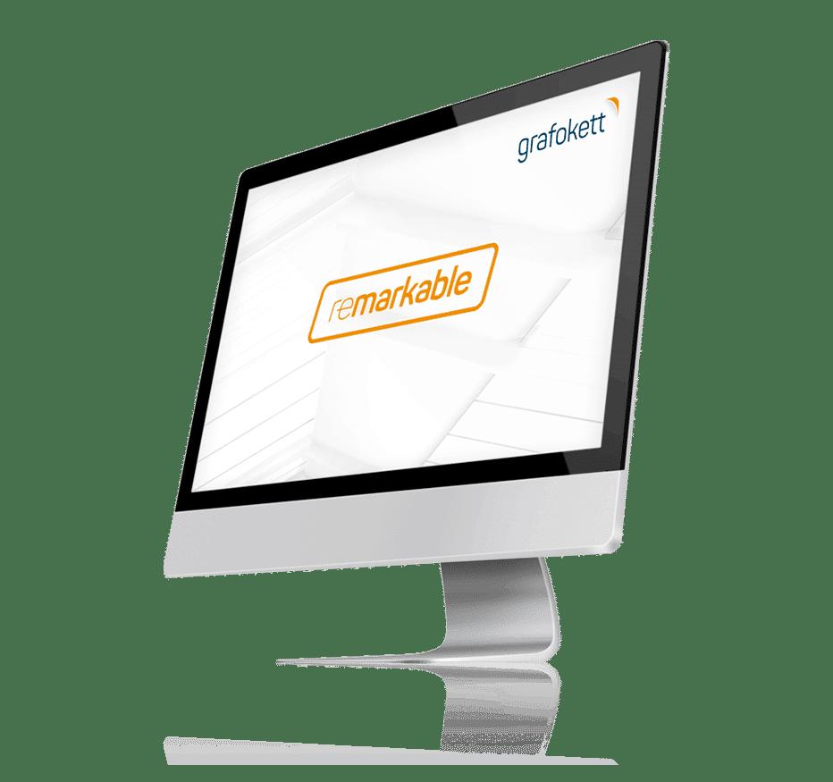 Dator med grafokett logga och slogan