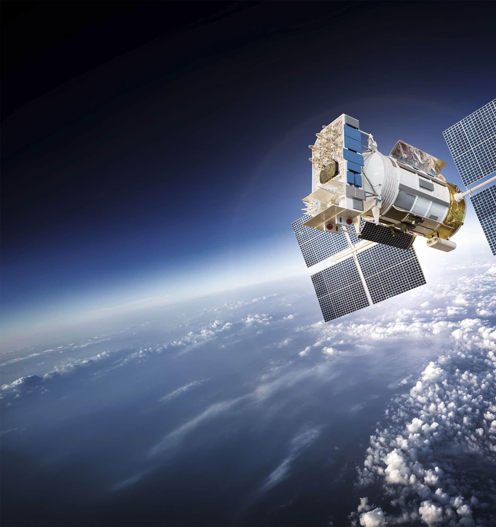Satellit med etikett